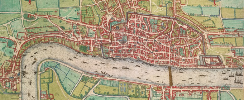Detail of the Braun map of London, 1572