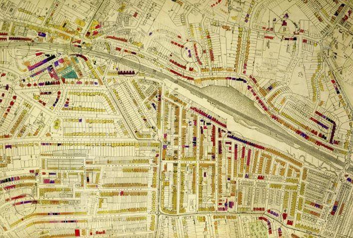 Detail of a London Bomb Damage Map. (London Metropolitan Archives)