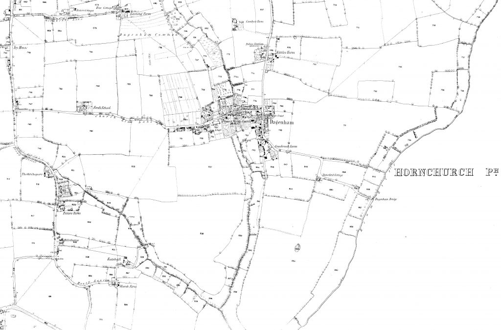 Map of Dagenham in the 1850s
