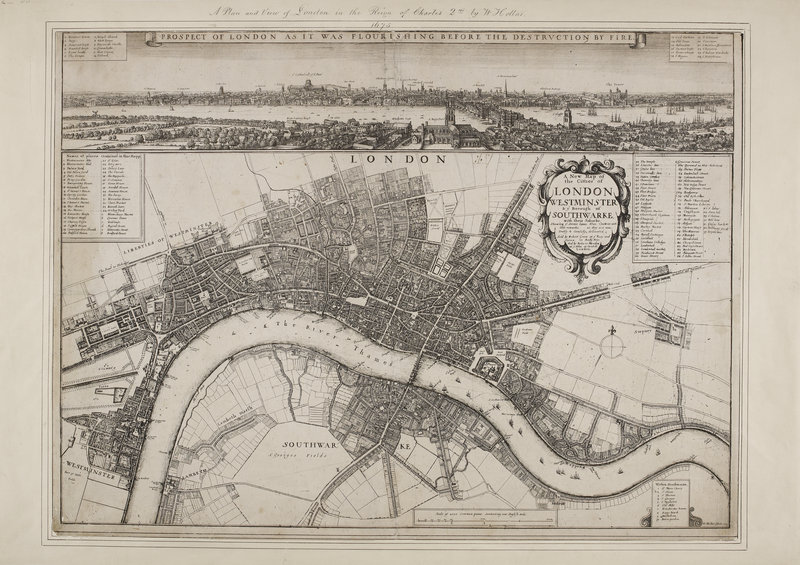 1675 Map of Old London, showing Westminster and Southwark